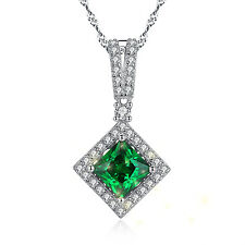 Sterling Silver 2.40 Ct Princess Cut Emerald GEMSTONE Pendant Necklace 18 Inches