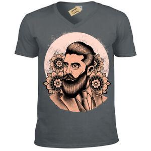 Barba-Pomata-T-Shirt-Fiori-Hipster-Gentiluomo-Salon-Barbiere-Uomo-Scollo-a-V