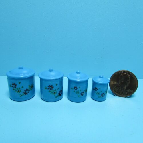 Dollhouse Miniature Metal canister Set in Blue ~ IM65302