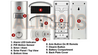 Motion Detector Alarm With Ir Remote Control + Solar Panel