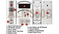 Motion Detector Alarm With Ir Remote Control + Solar Panel