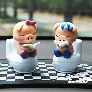 Solar-Powered-Flip-Flap-Bobble-Head-Pigs-Dancing-Toy-Car-Home-Room-Decor-Gift