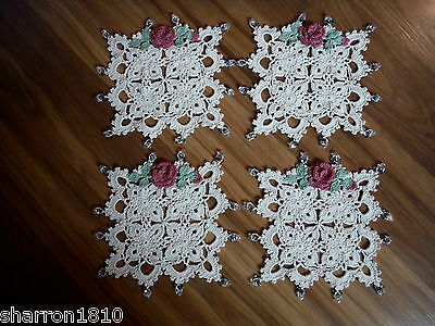 Crochet, Cottage Chic, Rose, Glass Beads, Coasters/small doilies (Set of 4)