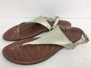 bd860f060a6ed0 Image is loading Sam-Edelman-Greta-Metallic-Leather-Thong-Sandals-Women-