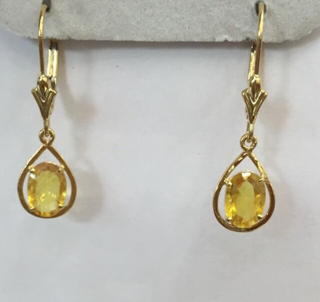 14k Solid Dangle Leverback Earrings with Natural Yellow Sapphire Oval Cut 1.90CT