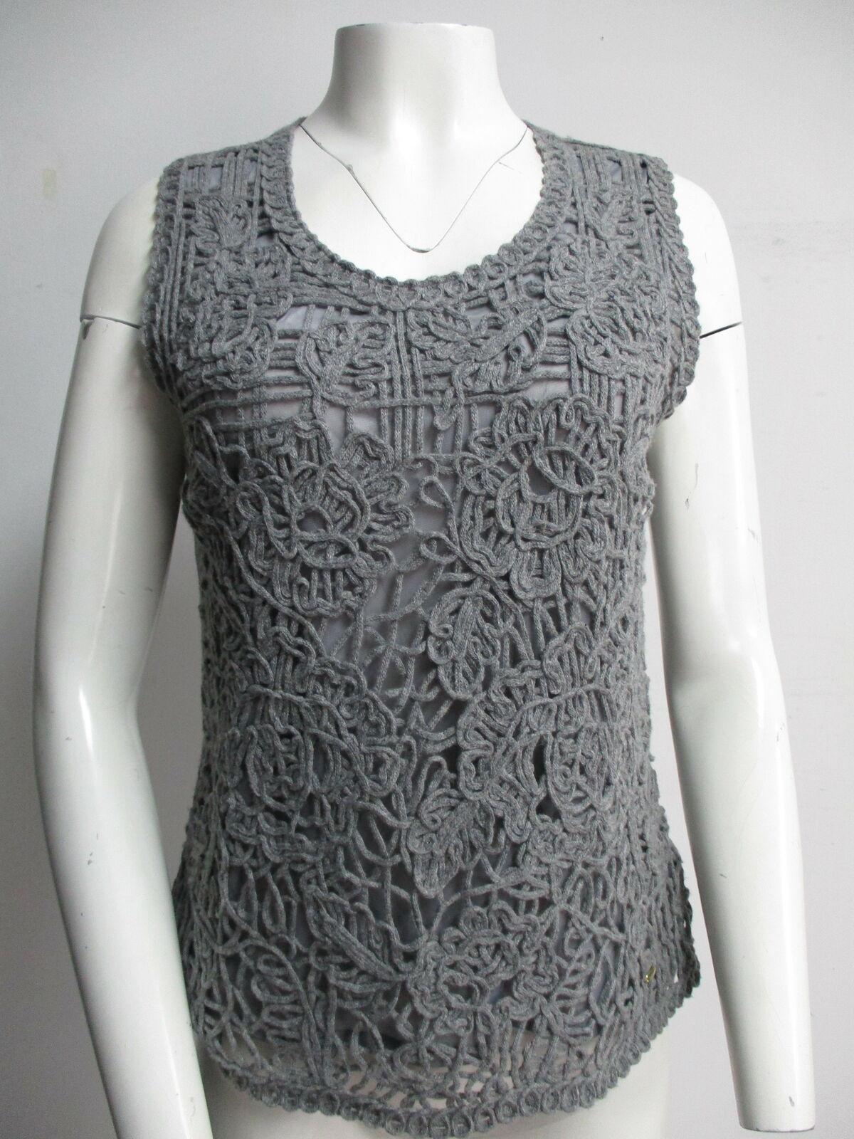 ESCADA grey crochet sweater vest sz L - image 1