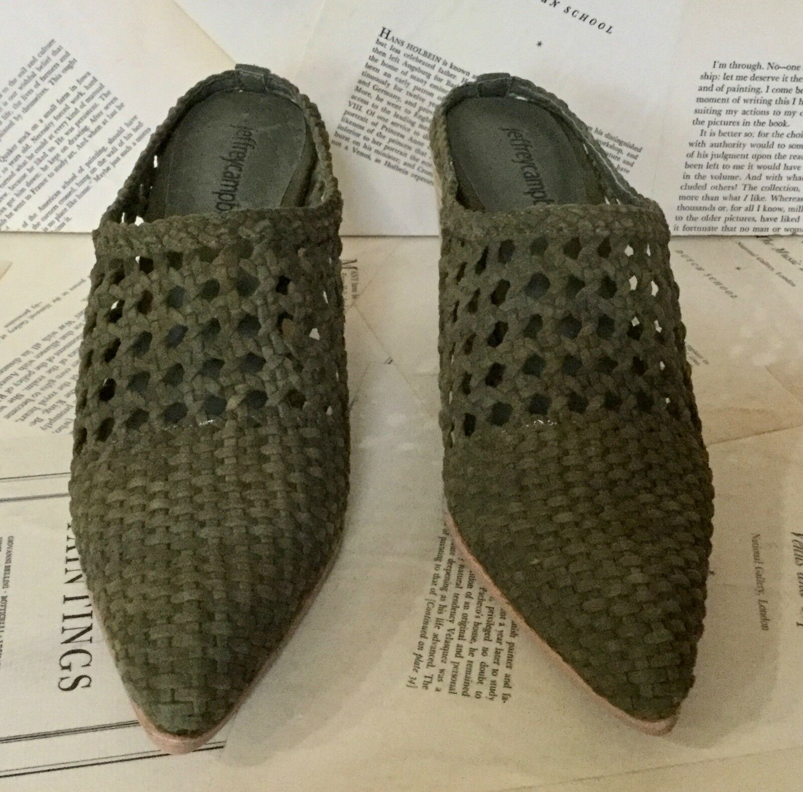 NIB Anthropologie Campbell Jeffrey Campbell Anthropologie olive Suede Weaved Western Mule Bootie 8.5 1da7f4