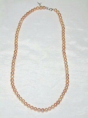 """Stauer Primrose Pink Freshwater Pearl Necklace 18 Inch Sterling Silver 2/"""" Ext."""