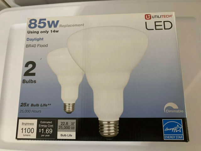 Utilitech 2-Pack 85 W Equivalent Dimmable Daylight Br40 LED Flood Light Bulbs