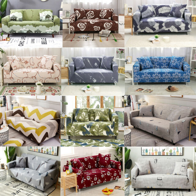 1//2//3 Seater Elastic Sofa Covers Slipcover Settee Stretch Floral Couch Protector