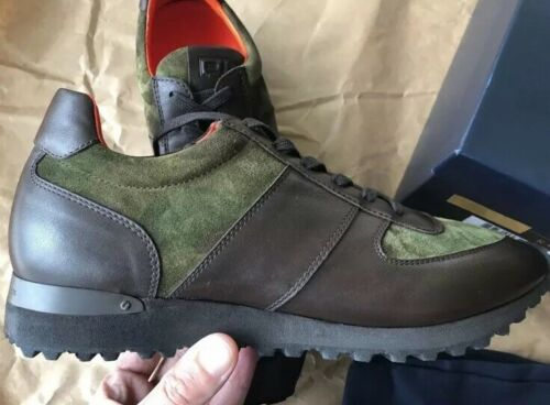 Ralph Lauren Purple Label Ethan Camo Sneakers Chocolate Calf Leather Vibram