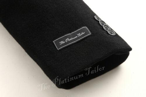 Black Double Breasted Cashmere Wool Long Overcoat Velvet Collar Winter Cromby