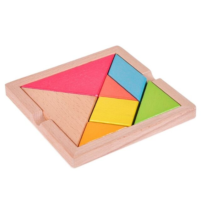 Colorful Wooden Tangram for Kids Seven Geometric Shapes Pieces Puzzle Educa M7P2