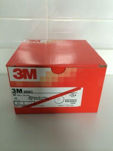 3M™ 988C Plain Hole Fibre Disc P36 Grit 100 mm X 16 mm 25 Per Pack