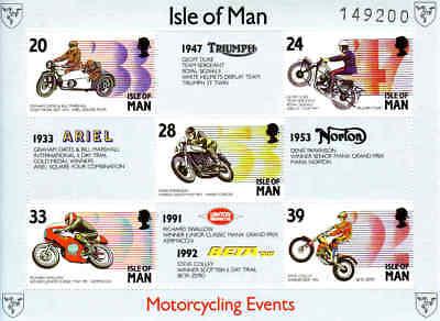 Großbritannien Motorradsport üBerlegene Materialien Insel Man Block 19 Postfrisch