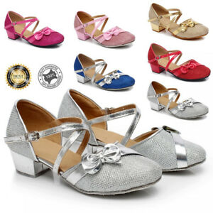 Girls-Kids-Childrens-Mary-Jane-Glitter-Low-Heel-Party-Wedding-Sandals-Dress-Shoe