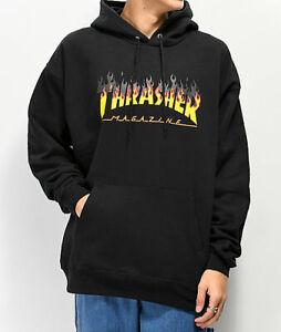 Thrasher-Hood-BBQ-Black-Skateboard-Jumper-Pullover-Sweater-Hoodie-Hoody
