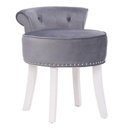 Velvet Padded Vanity Chair Low Back Dressing Table Stool With Wooden White Legs