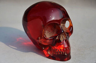 11.5 cm Collectible Decorate Burmese Artificial amber carving skull statue