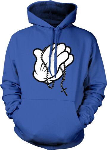 Cartoon Glove Rosary Beads Cross Prayer Catholic Christ Mens Hoodie Sweatshirt
