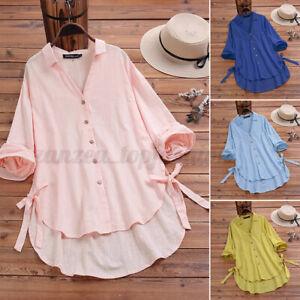 Women Long Sleeve Cotton Shirt Tops V Neck Loose Oversize Lapel Cotton Blouse