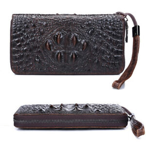 Women Man Crocodile Pattern Long Wallet Clutch Cellphone Credit Card Bag G