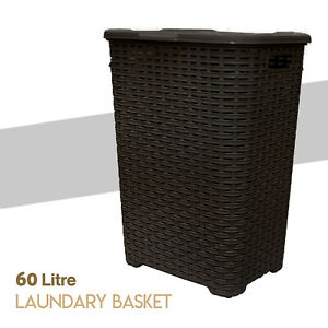 Large-Laundry-Bin-Basket-Washing-Clothes-Toys-Accessory-Storage-Hamper-60L-Brown