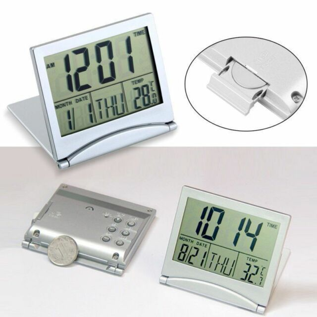 New Desk Travel Digital LCD Thermometer Calendar Alarm Clock flexible cover