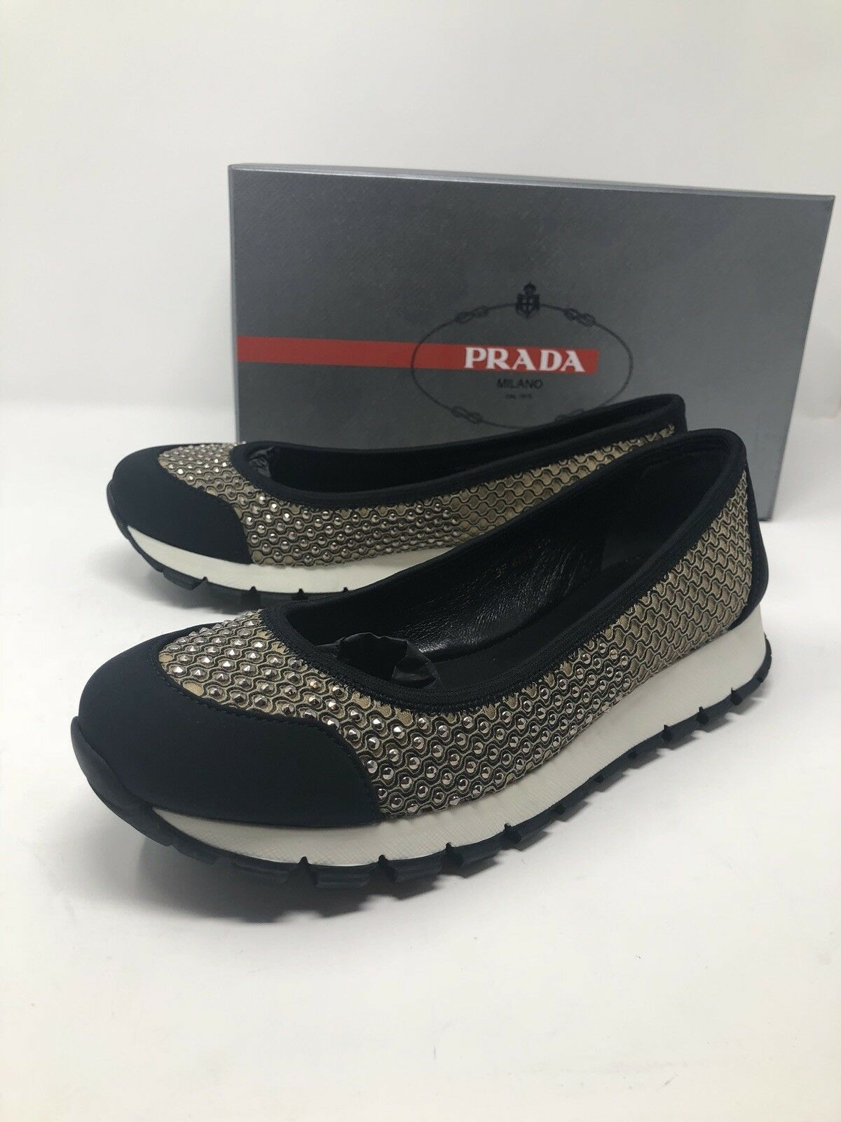620 New PRADA Womens Beige Black shoes Sneakers Ladies Size 8.5 US 38.5 EU