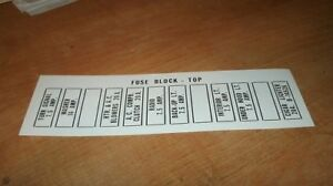 1956 LINCOLN MARK II FUSE PANEL BLOCK DIAGRAM DECAL   eBay