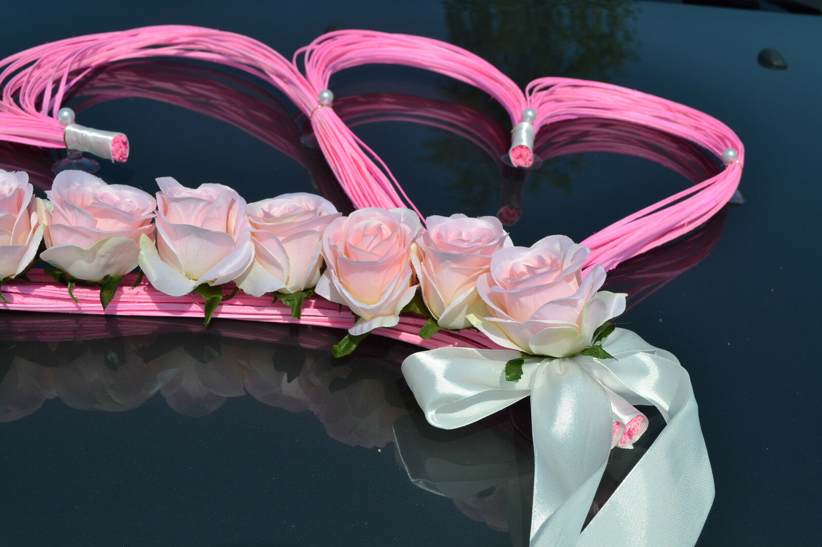Wedding car decoration,ribbon, bows, prom limousine decoration, HEARTS Rosa Rosa Rosa ecru 9c2c1f