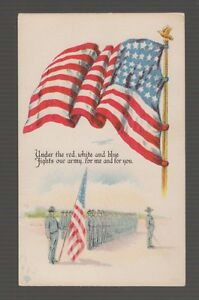 [63480] 1917 POSTCARD PATRIOTIC showing ARMY RECRUITS with AMERICAN FLAG