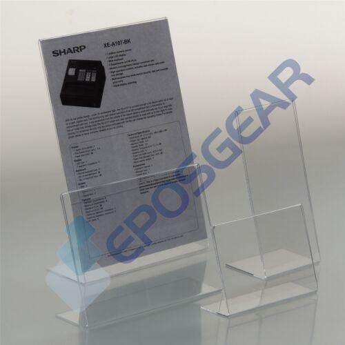 1 A4 orizzontale Perspex Acrilico angolato CONTATORE menu poster Holder Display Stand