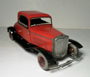 1947 Chad Valley Tin Litho Wind Up Ford Two Tone Red & Black Coupe Burnett Toy