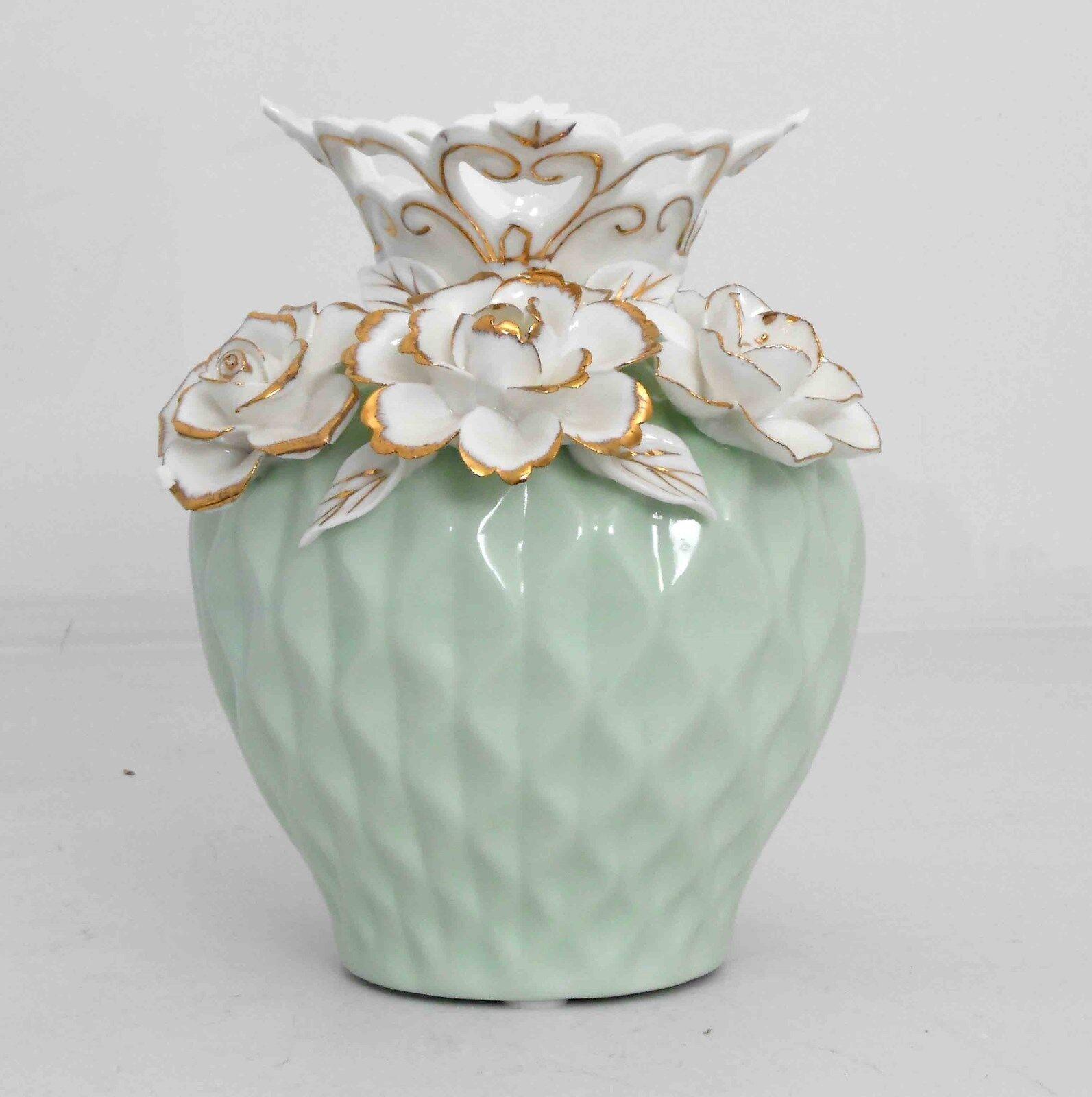 Florero de porcelana verde claro con Diseño de Flores Decoración Hogar Nº 1621