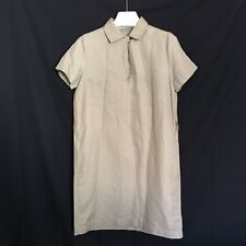 Lacoste Women Khaki Tan Career Weekend Short Sleeves Shirt Dress 40 US 8 M