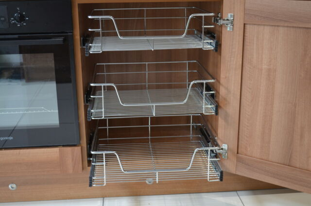 3 x 400mm pull out wire basket for kitchen larder base unit cupboard rh ebay co uk pull out wire baskets for kitchen units ikea pull out wire baskets kitchen