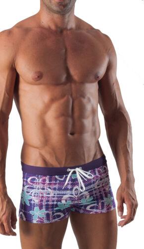 Geronimo Da Uomo Costume da Bagno Viola Square Cut Boxer TRUNKS Floreale CON FIORI Swim Suit