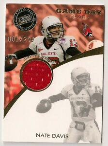 on sale 93d29 bcfb0 Details about NATE DAVIS GAME DAY GEAR GAME WORN COLLEGE JERSEY #001/299  BALL STATE - 49ERS #1
