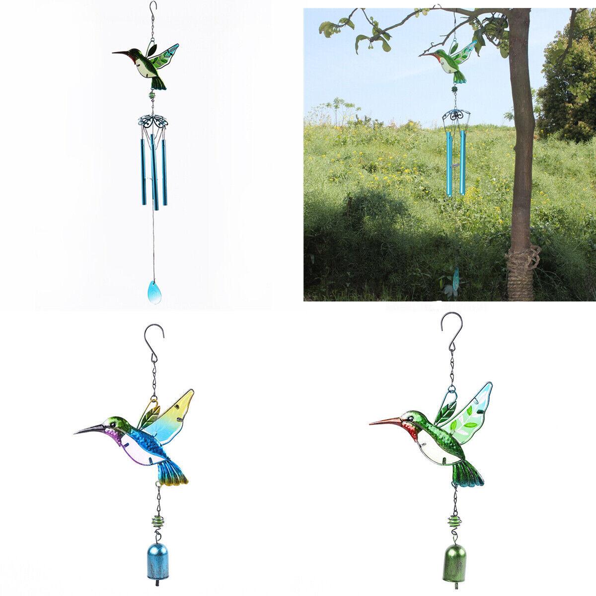 Hummingbird Wind Chimes Aluminum Hanging Ornament Home Outdoor Garden Yard Decor