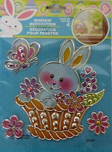 New Easter Bunny Window Sticker Decal Decoration ~ Bunny in Basket FREE SHIPPING