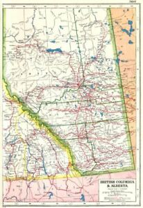 ALBERTA Showing Railways Part Of British Columbia Canada - Old map of canada