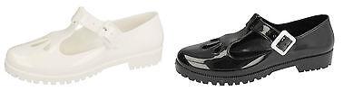 Señoras f80045 T-bar Jelly Hebilla Zapatos En Blanco O Negro Por Unbranded * descuento *