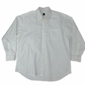 Ike-Behar-Dress-Shirt-Men-039-s-Size-17-5-35-White-Long-Sleeve-Collared-Button-Up