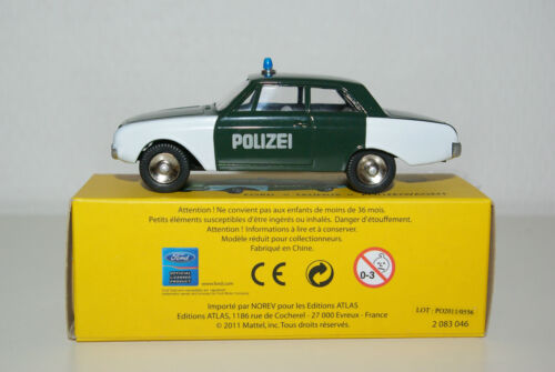 DINKY TOYS ATLAS 551 FORD TAUNUS POLICE POLIZEI WAGEN MINT BOXED RARE SELTEN!!!
