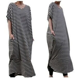 Details about Womens Oversize T Shirt Dress Striped Maxi Loose Fit V Neck Short Sleeve Robes L
