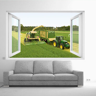 FIELD TRACTOR HARVESTER WALL STICKERS 3D ART MURAL POSTER OFFICE HOME DECOR TQ3