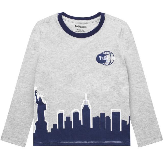 2c466b48 8-9t Kids Boys Children Long Sleeve T-shirt Modern City Print Cotton ...