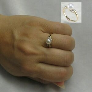 14k-Yellow-Gold-White-Genuine-AAA-Cultured-Pearl-amp-Diamonds-Cocktail-Ring-TPJ