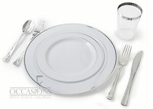 Image is loading Wedding-Disposable-Plastic-Plates-silverware-silver-rimmed -tumblers-  sc 1 st  eBay & Wedding Disposable Plastic Plates silverware silver rimmed ...